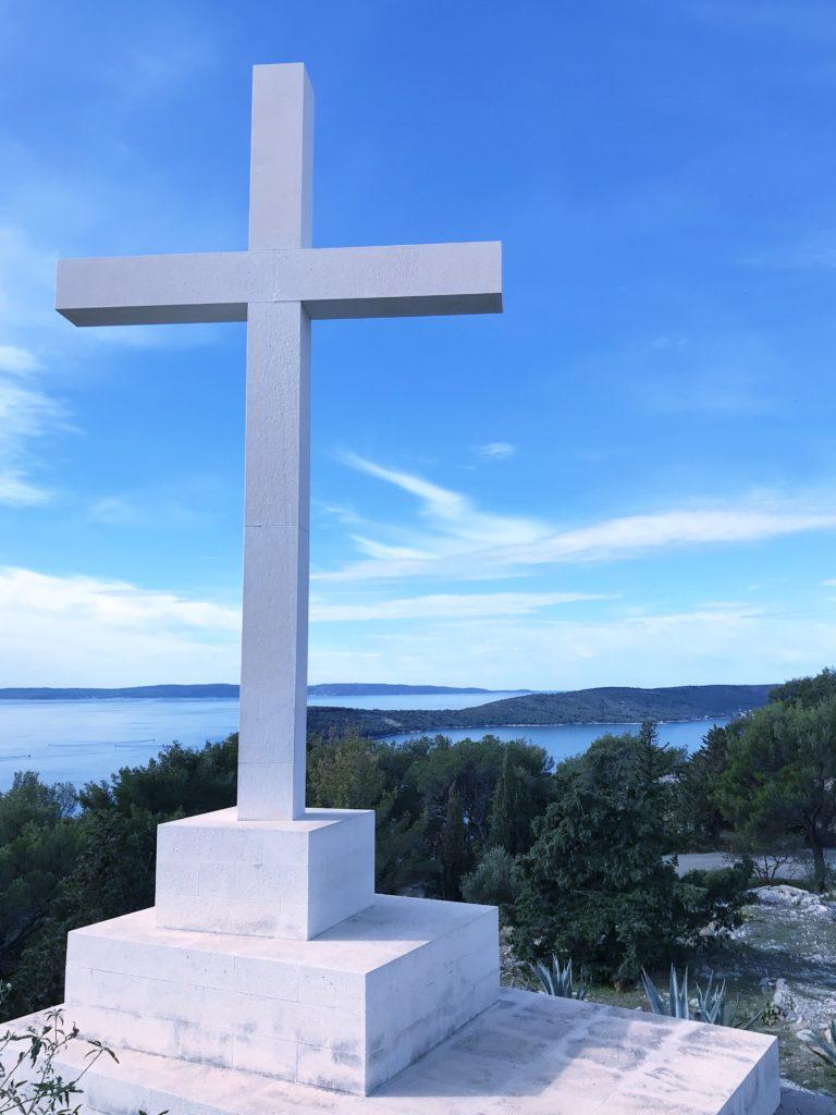 Cross statue at Park Marjan in Split Croatia