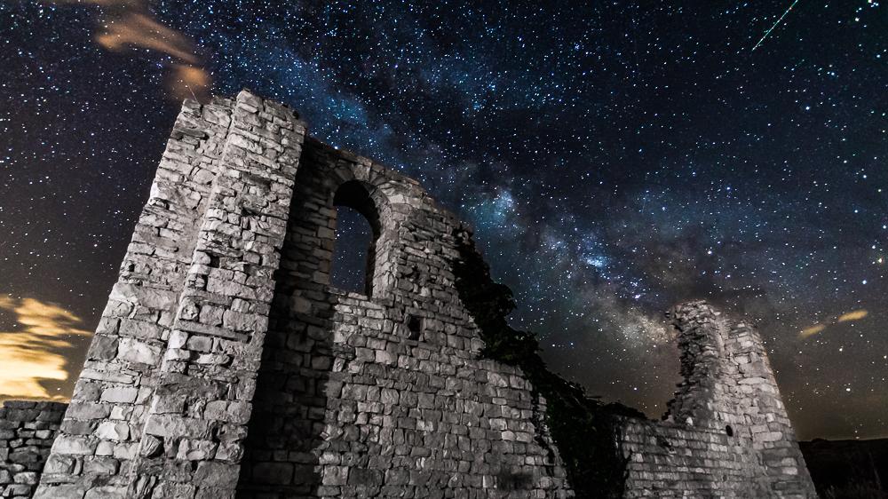 Milky way and star trails from island Brač