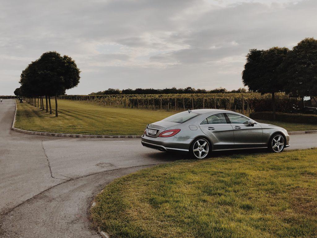 Mercedes Benz A-Class in a vineyard