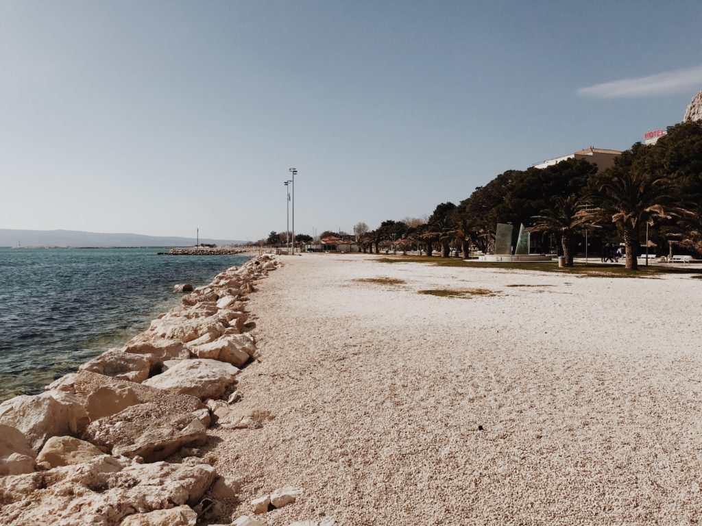 Fantastic sand beach in the center of the town of Omiš