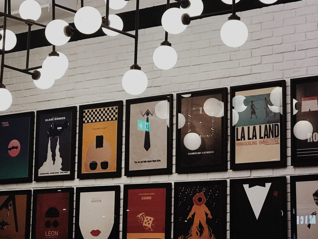A wall of iconic film posters