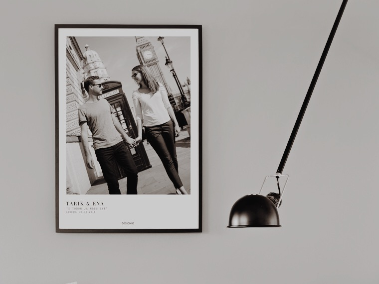 Wall poster with your own photos and with your own text