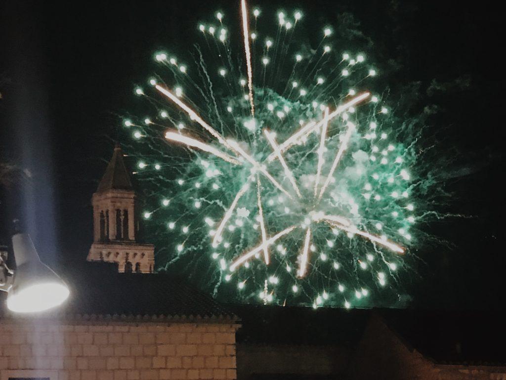 Fireworks in Split, View on Sv. Duje
