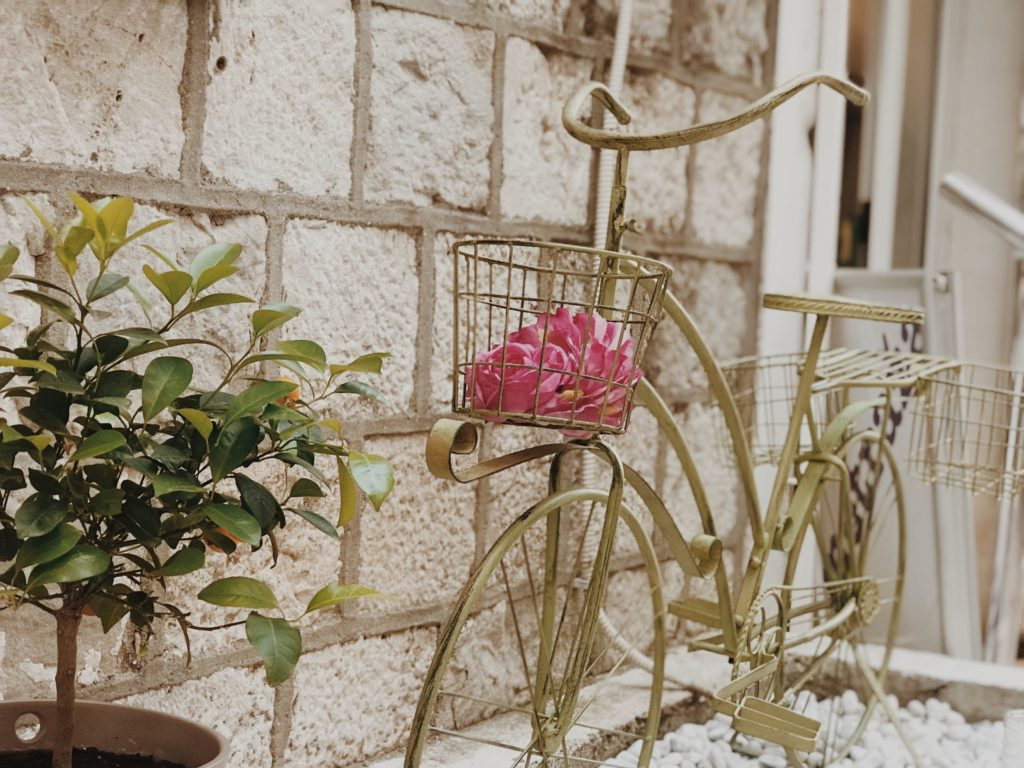 Old bike decoration with flower
