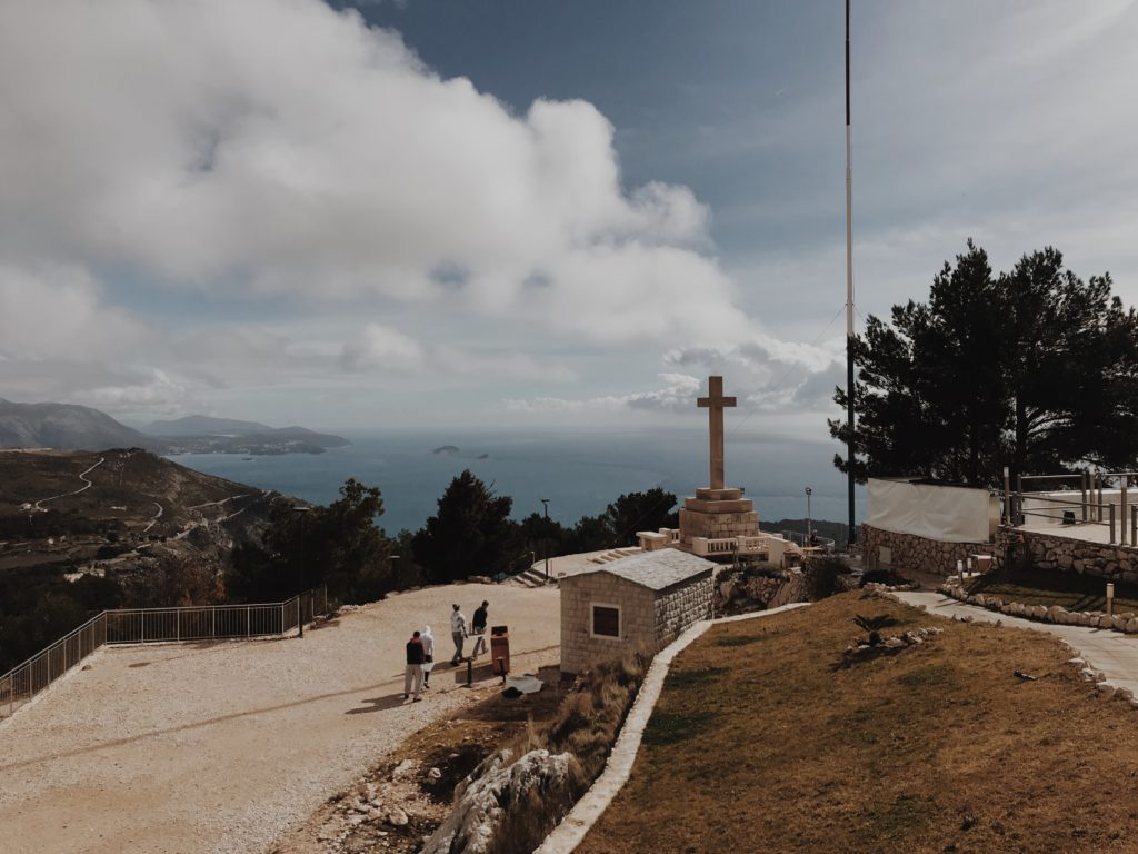 Cross with altar on the hill above Dubrovnik, Croatia