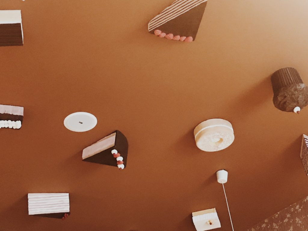 Cakes on the ceiling as a decoration