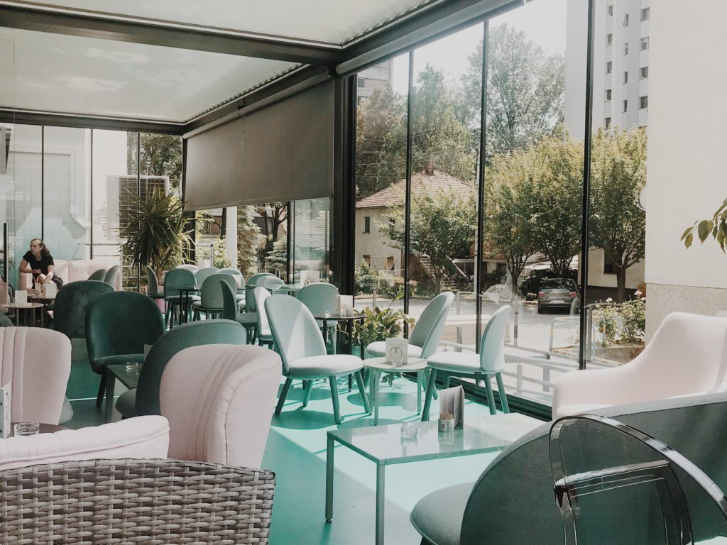 Open terrace of cafe bar with plants in Zagreb, Croatia
