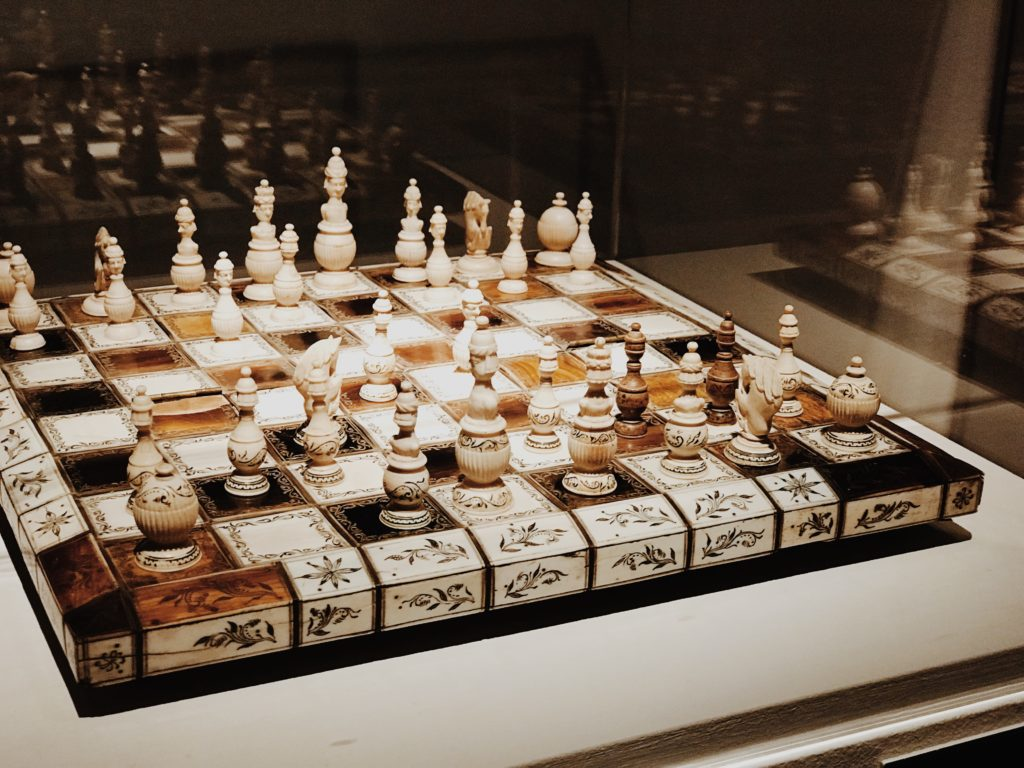 Old chess table Russia, elegant wooden chess