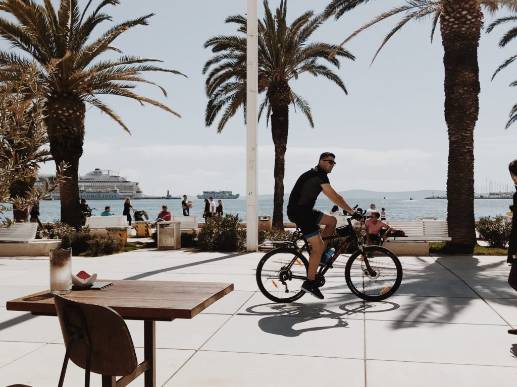 Bicycle with palm trees on nice promenade