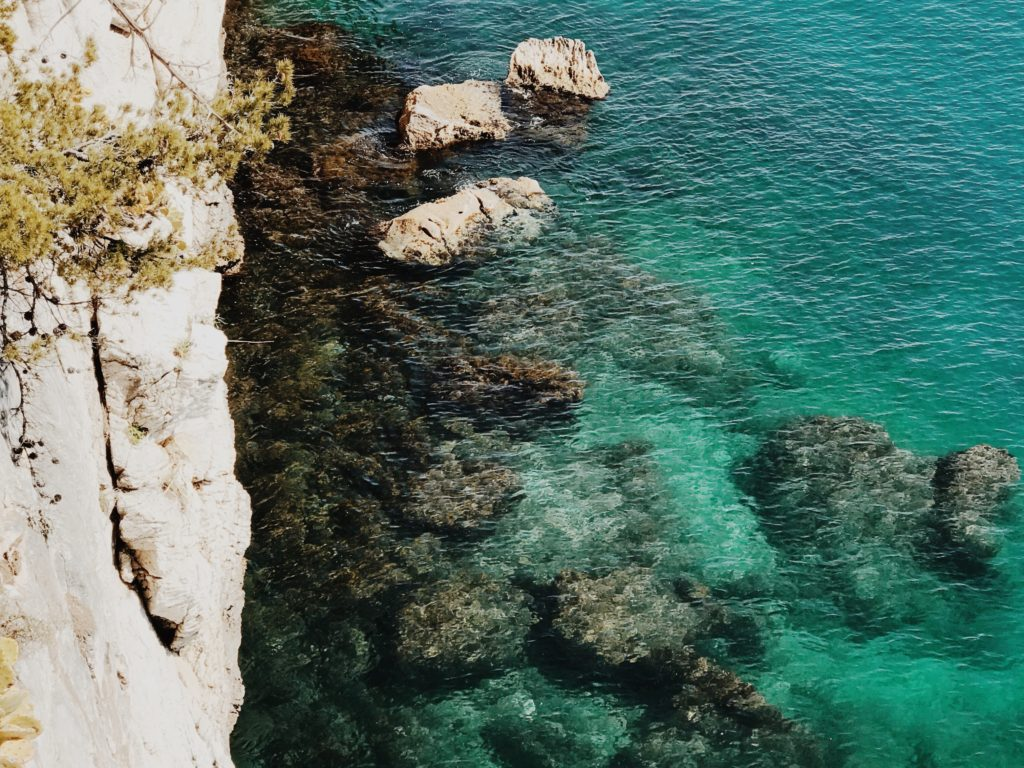 Top view of beautiful turquoise ripple on the sea surface and rocks