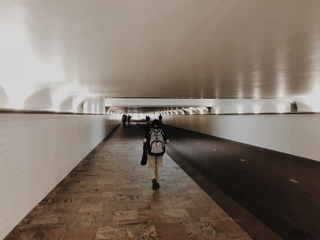 A pedestrian and cycle tunnel