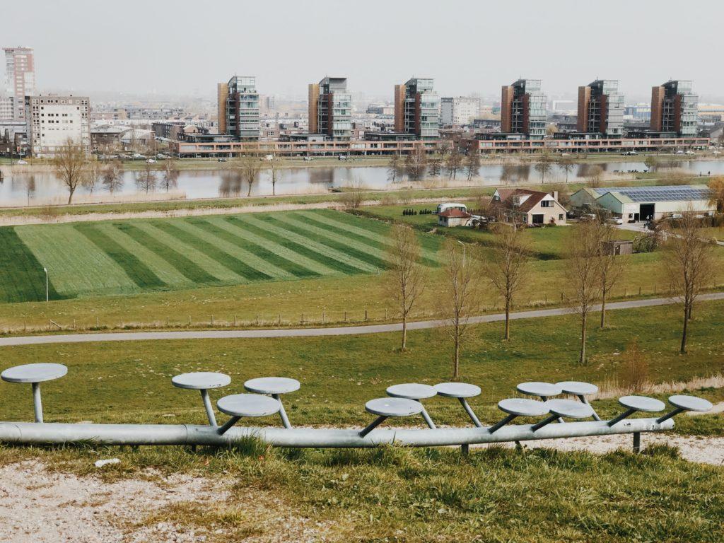 View on Barendrecht from artificial hill called Gaatkensbult