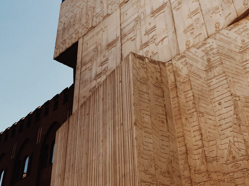 Concrete relief has increased fragments of architectural drawings
