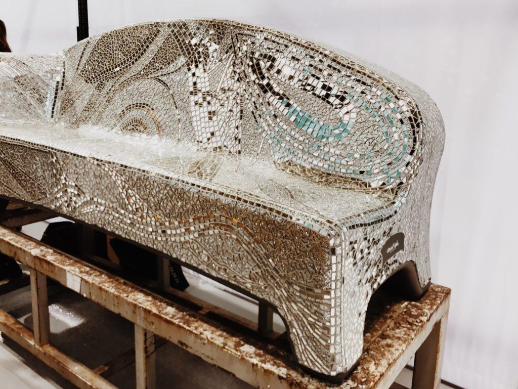 Ceramic tile garden bench