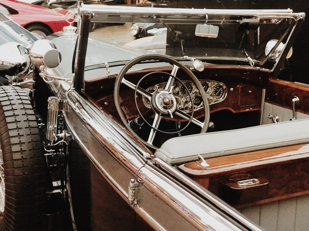 Very beautiful old vintage car with an inside view