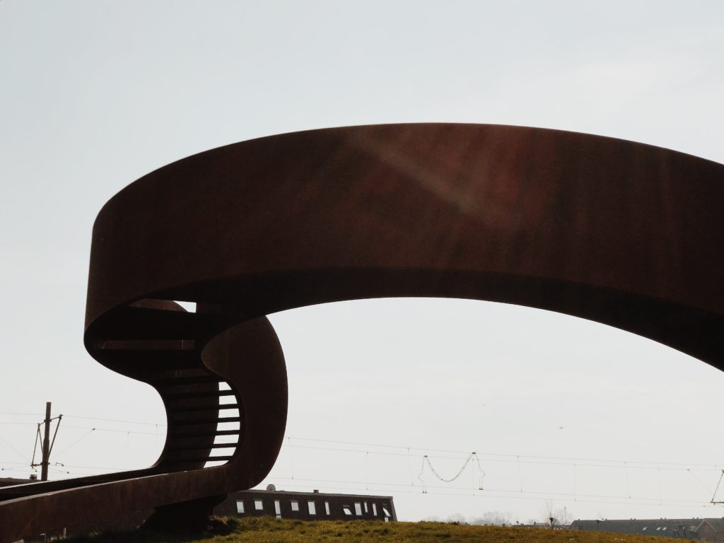 Curved stairs¸fabricated from a single piece of Cor-ten steel