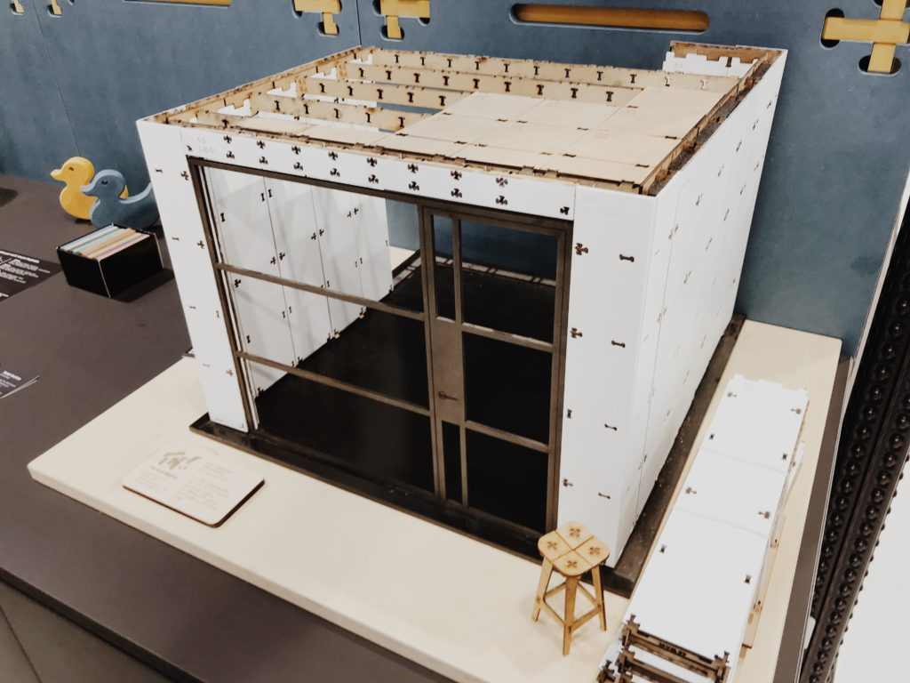 Scale architectural model with construction concept in building process