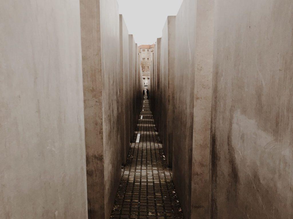 Inside of giant concrete slabs, Berlin, Germany
