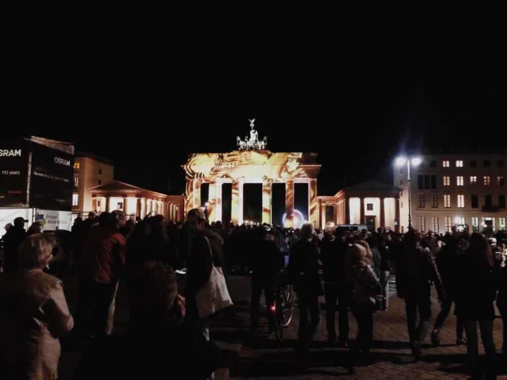 Brandenburg Gate illuminated during Festival of Lights in Berlin
