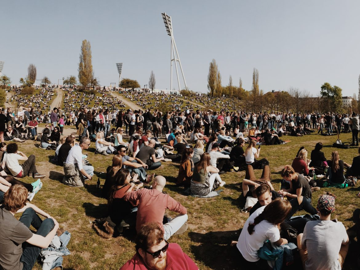 Many people in crowded Mauerpark in Berlin, Germany