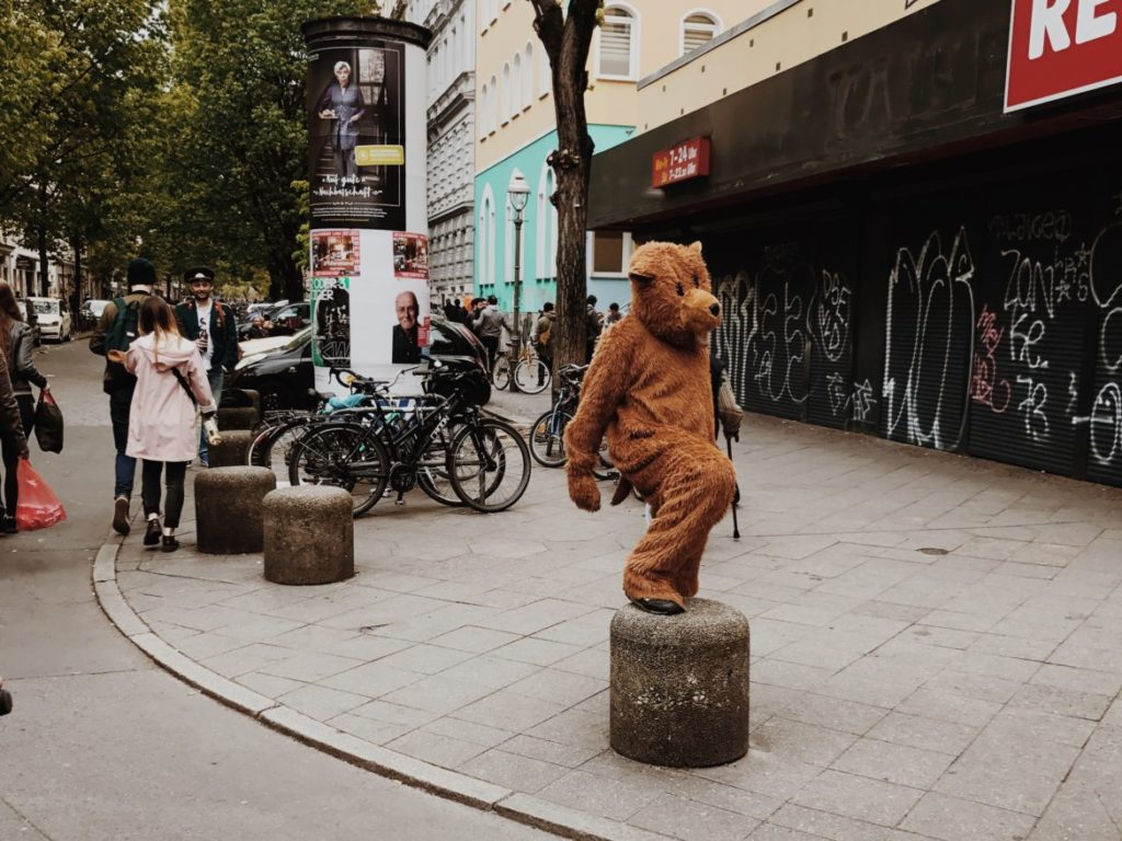 A man dressed in a bear costume, Berlin