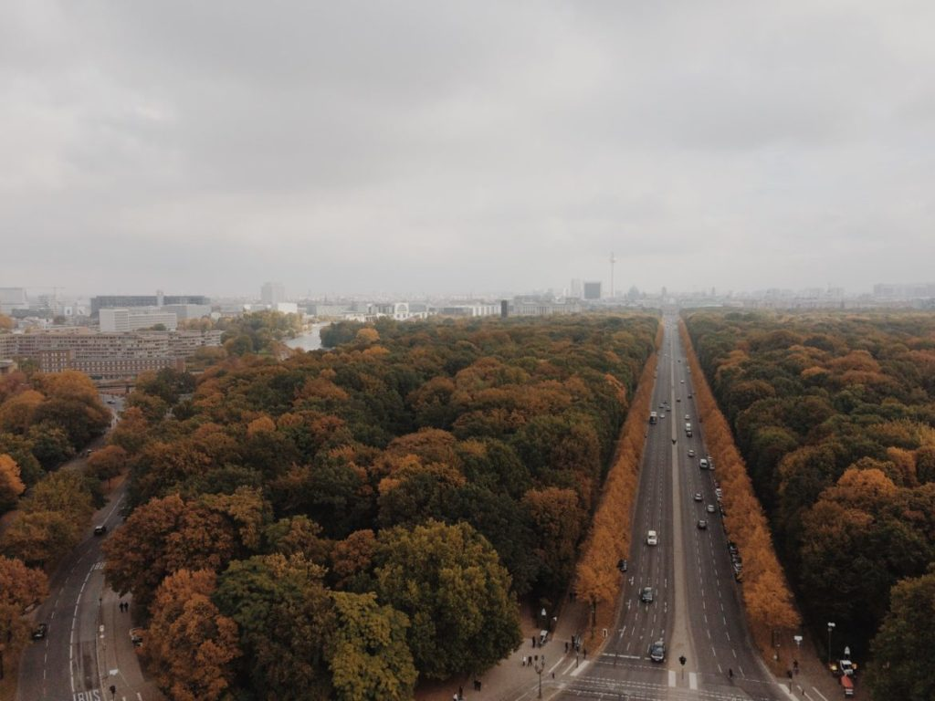 View from the platform of the Victory Column towards Brandenburg Gate