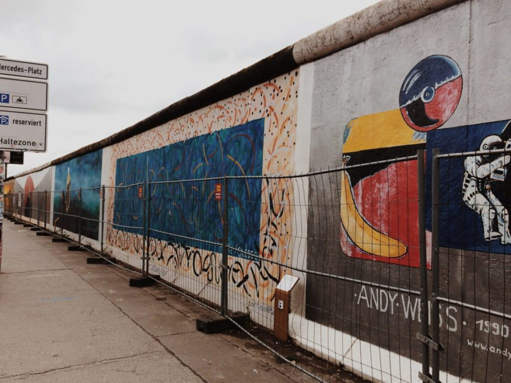 The East Side Gallery during restoration work