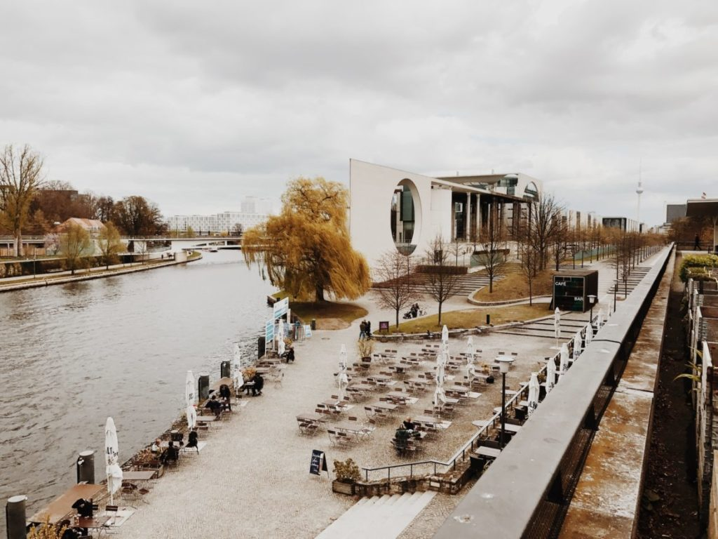 View on river Spree and German Chancellery, Berlin