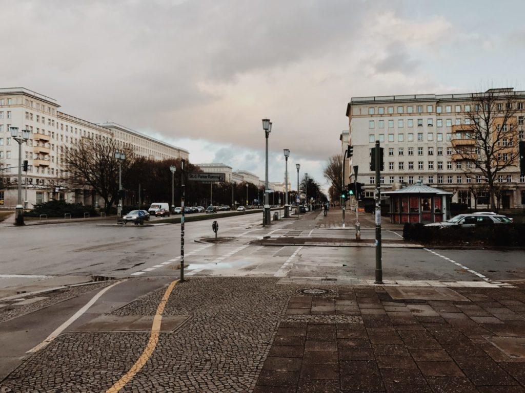 View on the Karl-Marx-Allee in Berlin-Friedrichshain