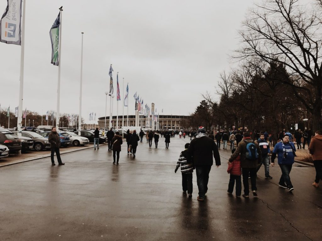 People walking towards the Olympic stadium, Berlin