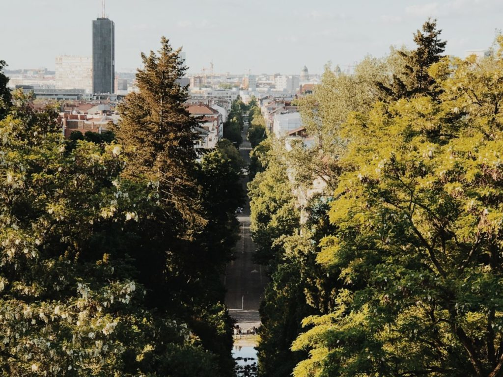 The view down the hill from close to the monument in Viktoriapark, Berlin