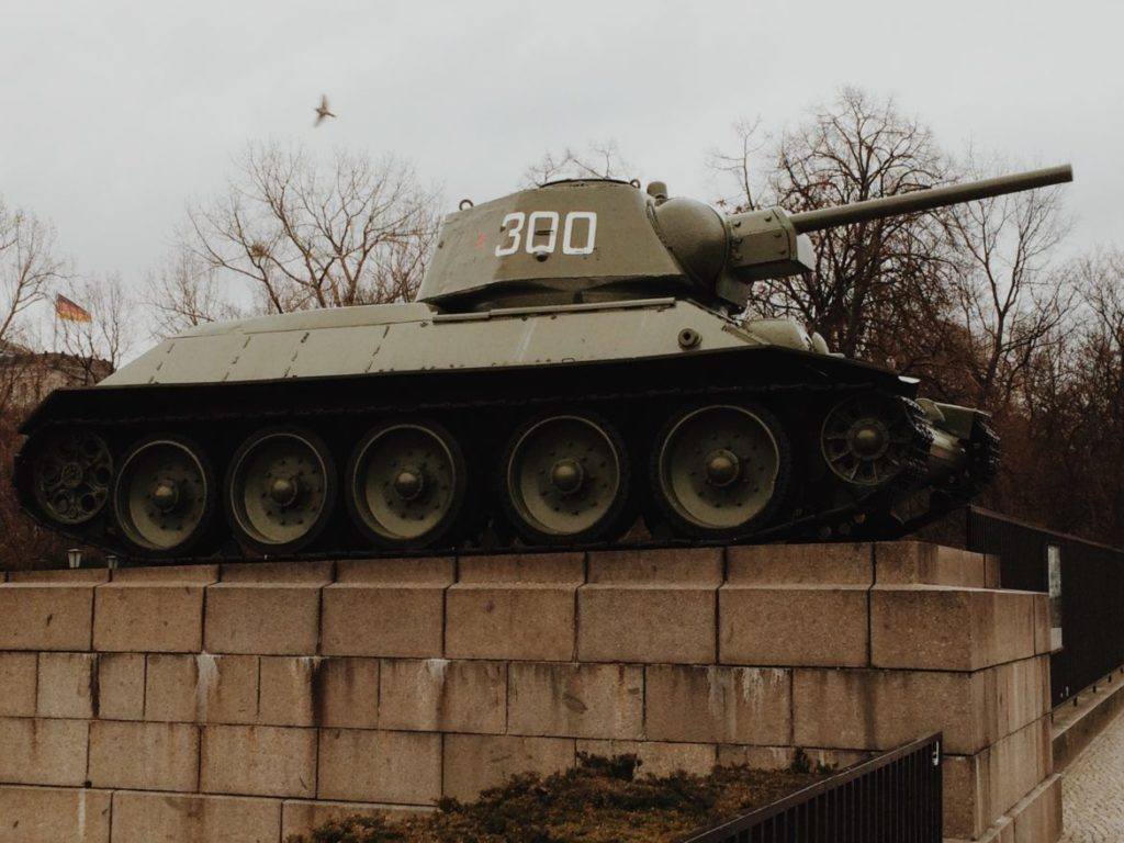 View of tank on display in Tiergarten Berlin Germany