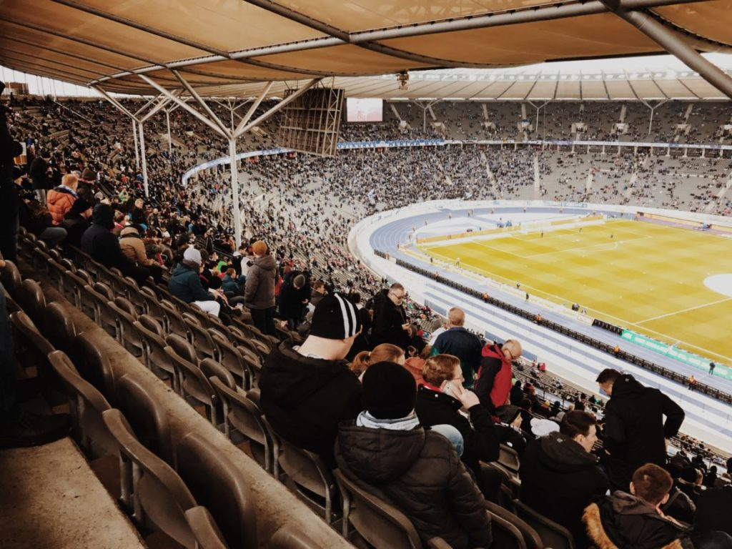 General view of the stadium with a fans during the Bundesliga, Hertha BSC