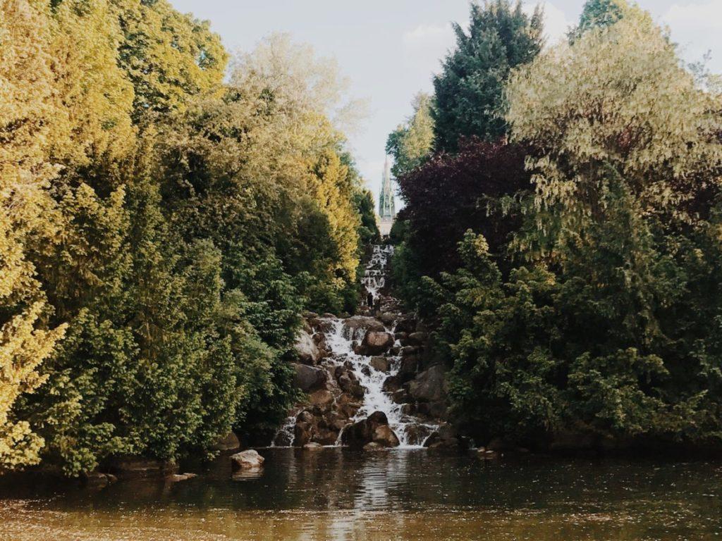 Amazing waterfall in Viktoriapark, Kreuzberg district, Berlin