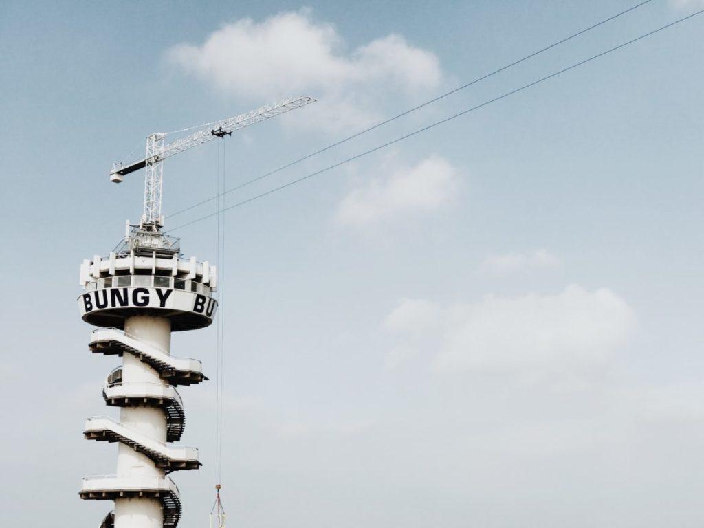 Bungee Jump at Beach pier Tower in Hague, (Den Haag), Holland, Netherlands