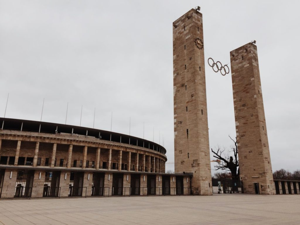 Main entrance to the historic Olympic Stadium, Berlin