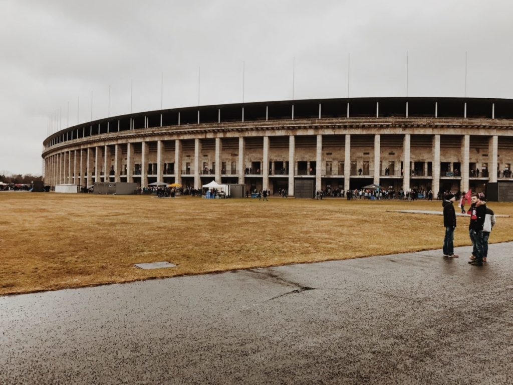 Outside the Berlin Olympic Stadium (Olympiastadion), Germany