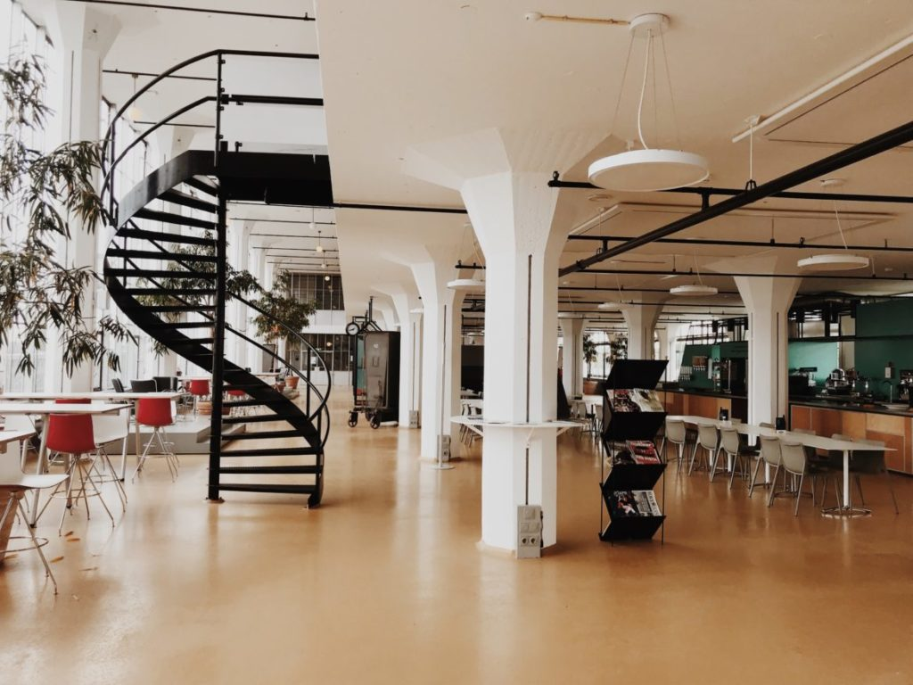 Fantastic interior with modern furniture in old factory, Rotterdam, Nederlands