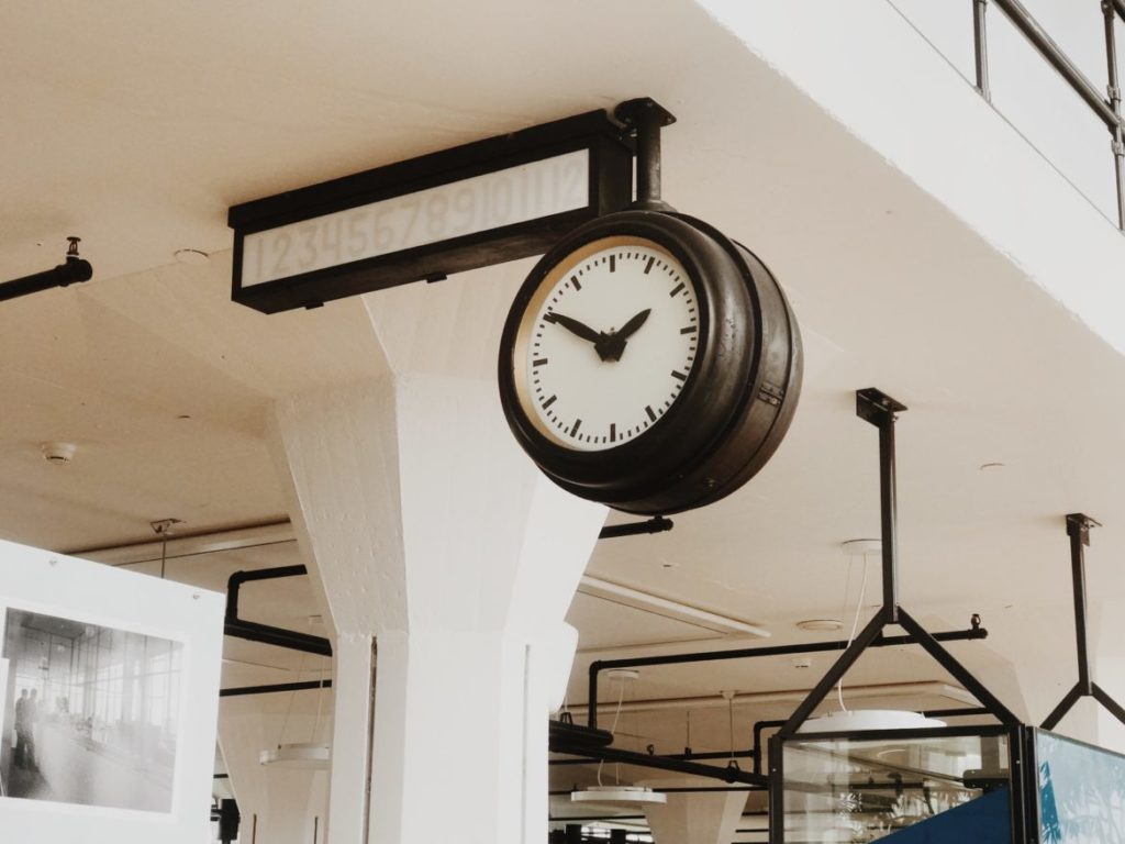 Vintage large clock in old factory