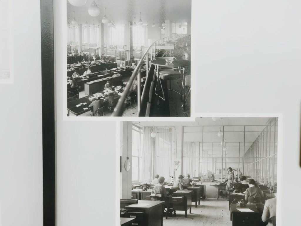 Vintage photo of workers in coffee factory, Rotterdam, Nederlands