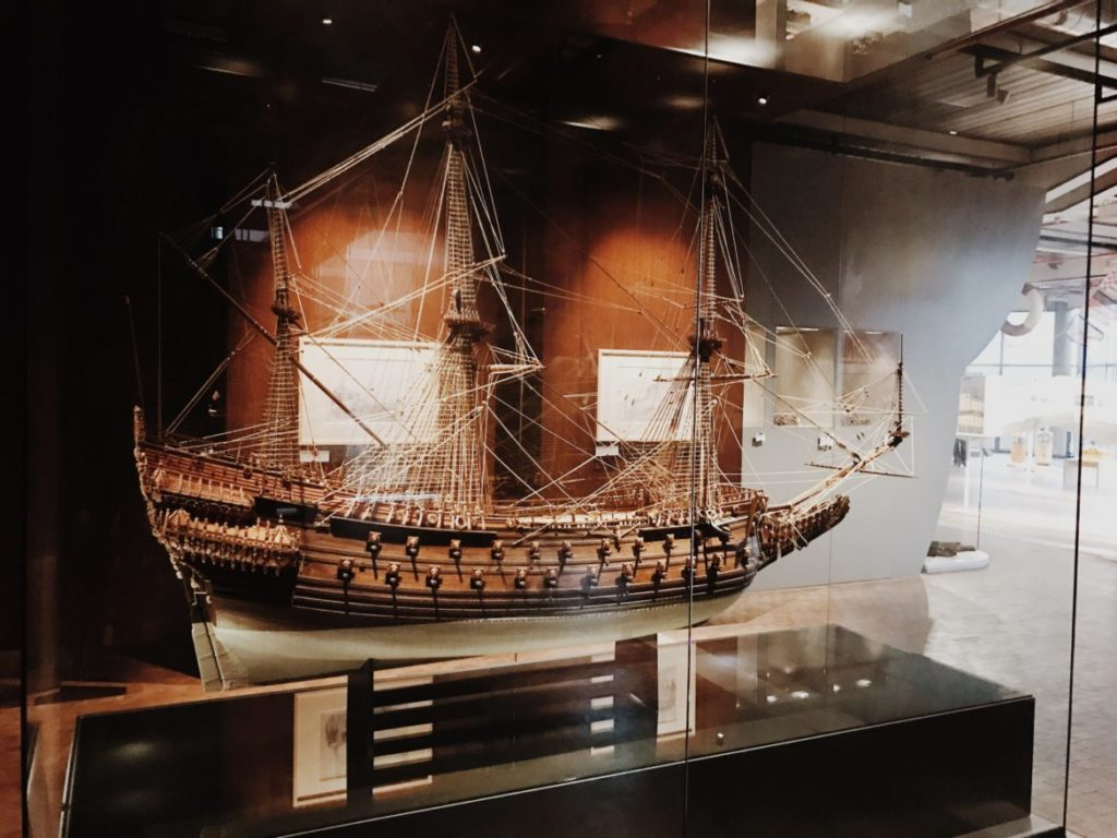 A huge wooden boat scale model in museum