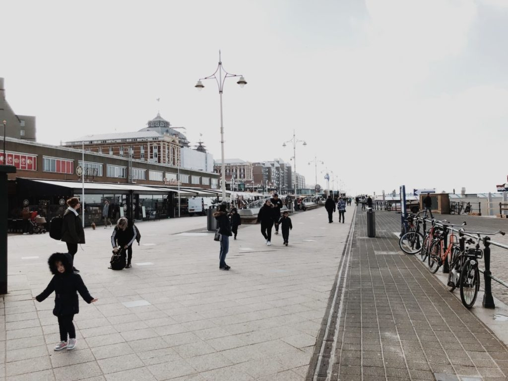 Cafes and Restaurants along the Beach promenade by the North Sea in the Hague, Holland, Netherlands