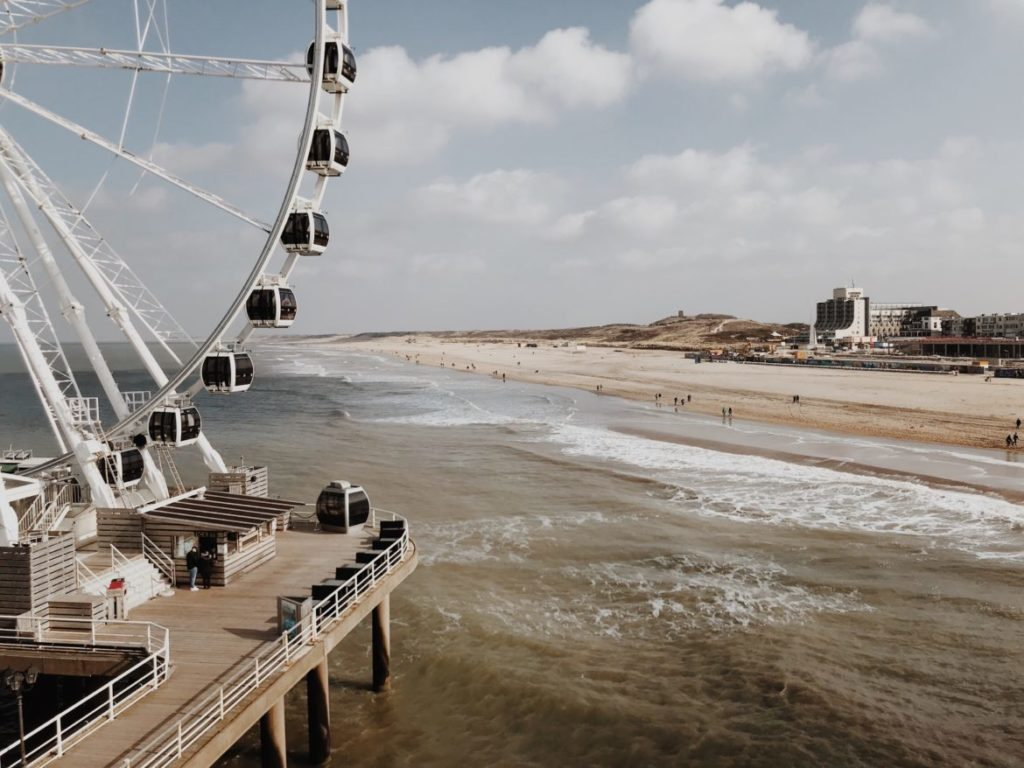 Ferris wheel over the sea of Scheveningen, The Hague (Den Haag), Holland, Netherlands