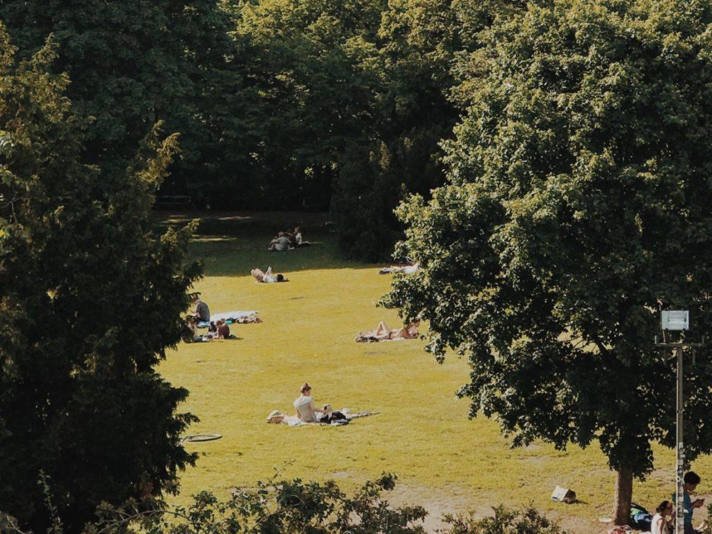 People enjoying sun in Viktoriapark, Berlin
