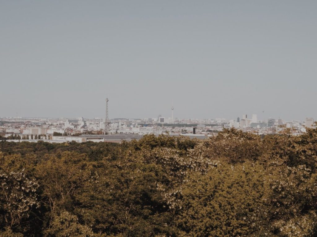 A dome on the roof and the view from the former NSA Listening Station at Teufelsberg