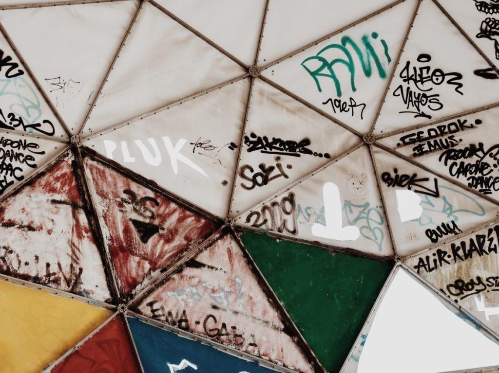 Graffiti on Radar dome at abandoned Teufelsberg Listening Station, Berlin, Germany