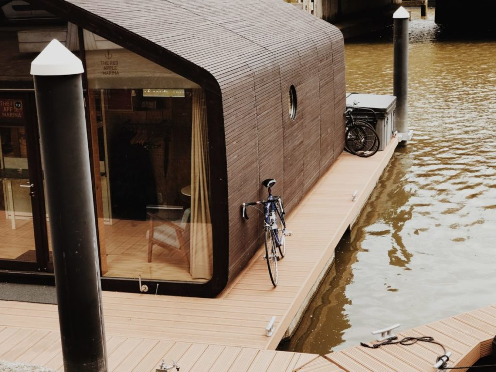 The Wikkelboat tiny houses based on a wrapped cardboard, Rotterdam, The Netherlands