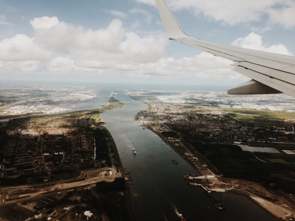 Aerial view of Port of Rotterdam from airplane