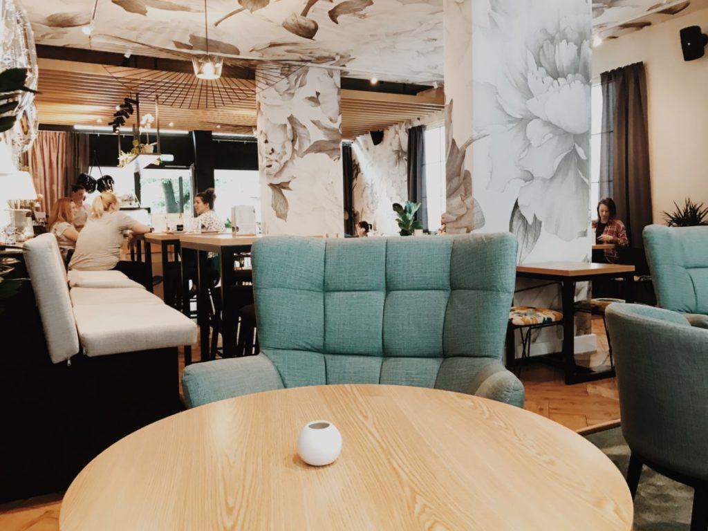 Modern restaurant interior design with artificial windows