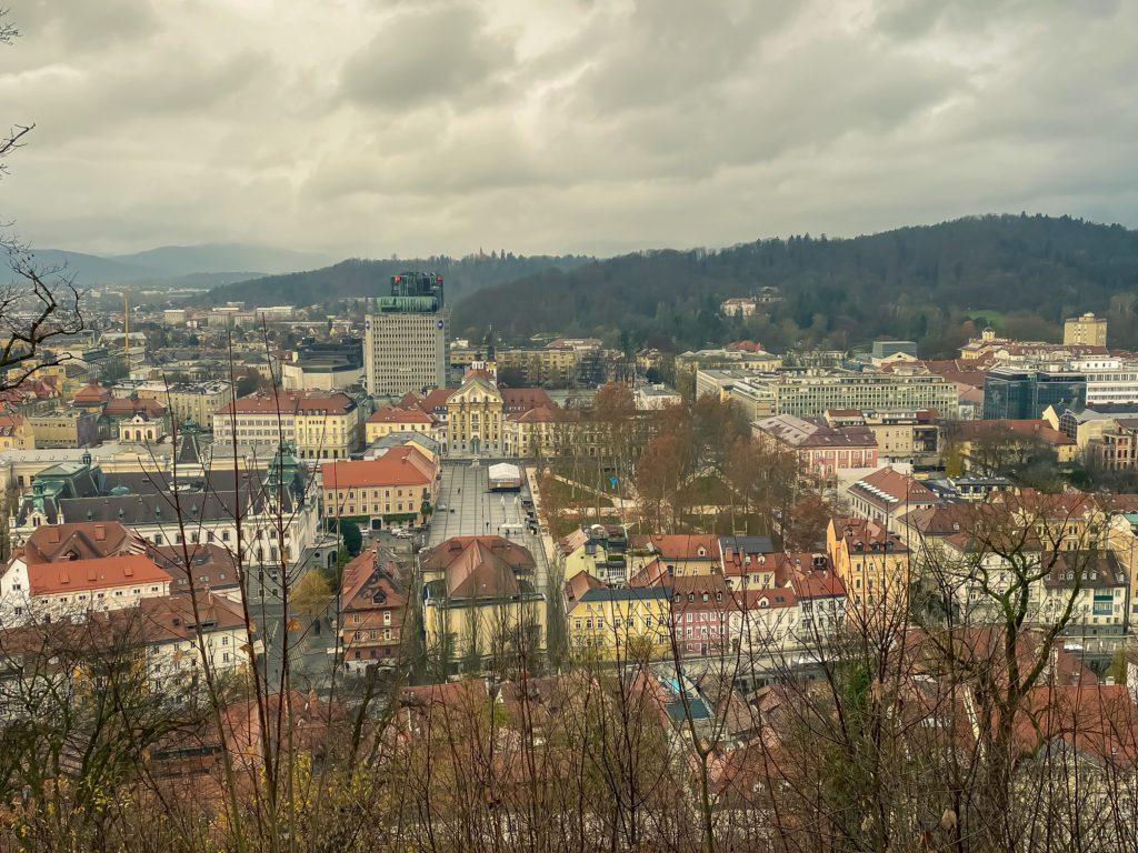 A panoramic view of the city of Ljubljana, Slovenia from Ljubljana Castle
